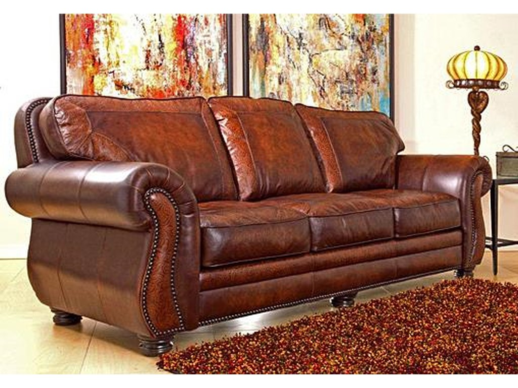 Signature Collection Traditional Leather Stationary Sofa With Nailhead Trim By Artistic Leathers