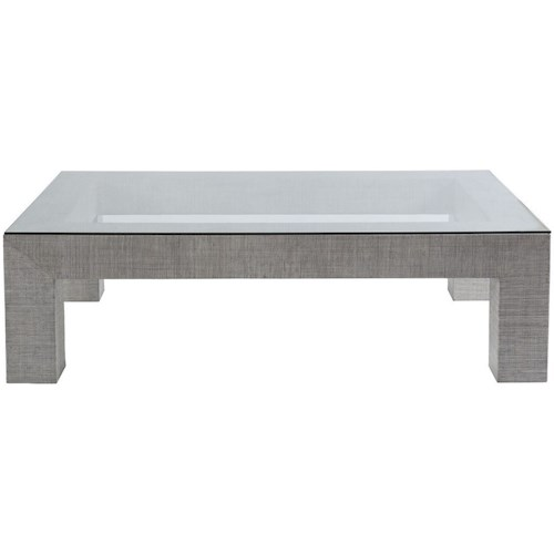 Artistica Precept Contemporary Rectangular Cocktail Table with Glass Top