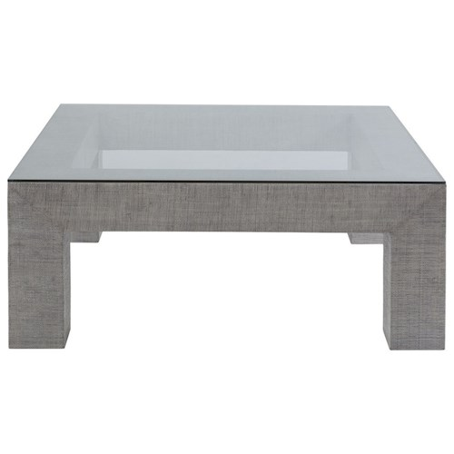 Artistica Precept Contemporary Square Cocktail Table with Glass Top