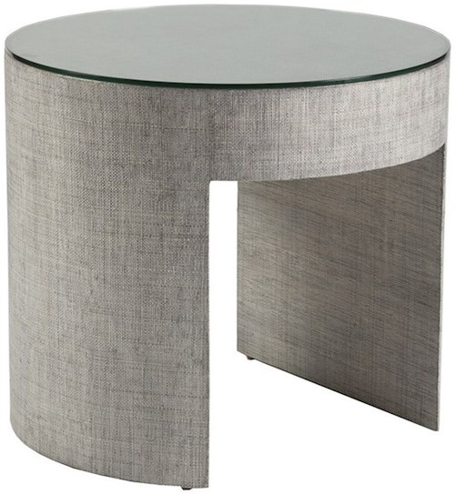 Artistica Precept Contemporary Round End Table with Glass Top