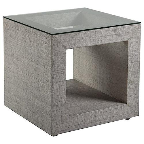 Artistica Precept Contemporary Square End Table with Glass Top