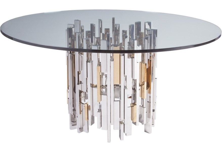 Artistica Cityscape Cityscape Round Dining Table With 60 Inch Glass Top Jacksonville Furniture Mart Dining Tables