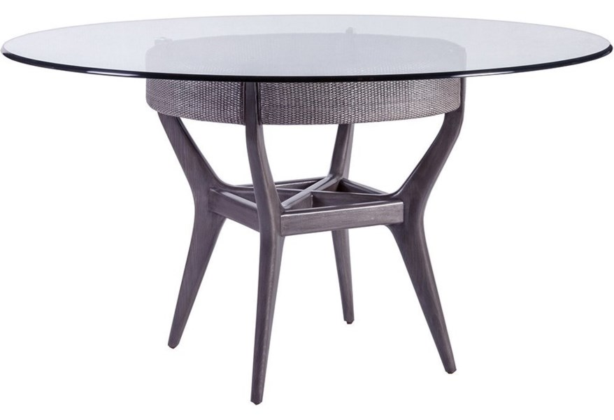 Artistica Formosa 56 Round Glass Dining Table With Solid Wood Base Sprintz Furniture Dining Tables