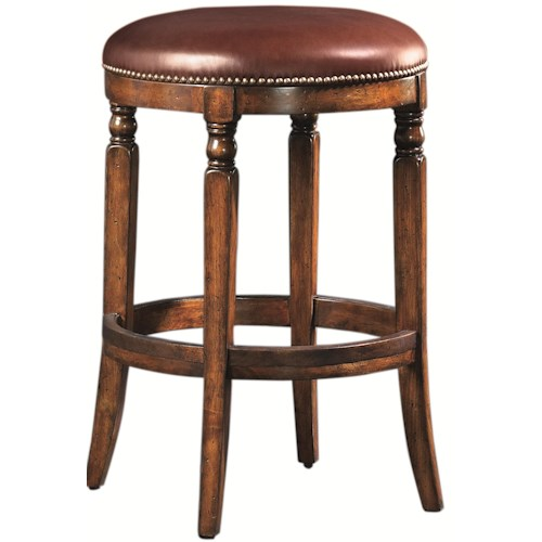Artistica Winston Round Backless Leather-Upholstered Stool with Brass Nailhead Trim