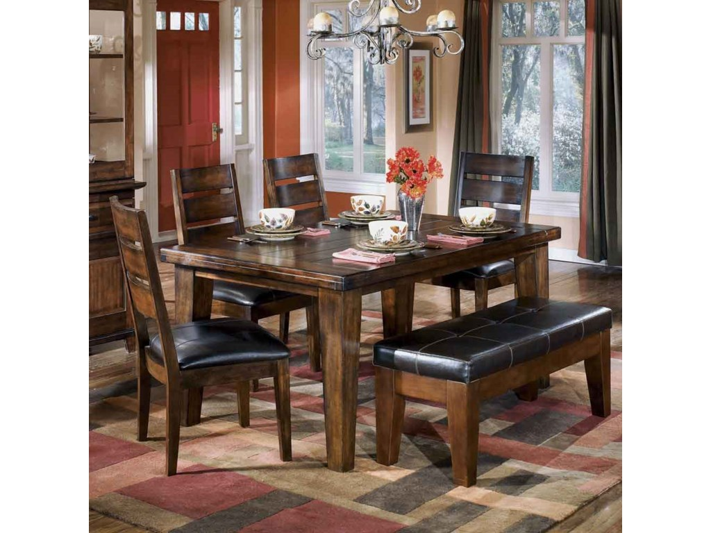 Signature Design By Ashley Larchmont Rectangular Dining Table 4 Chairs And 1 Bench