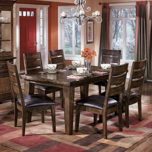 Signature Design By Ashley Larchmont Rectangular Dining Table And 6 Side Chairs Godby Home