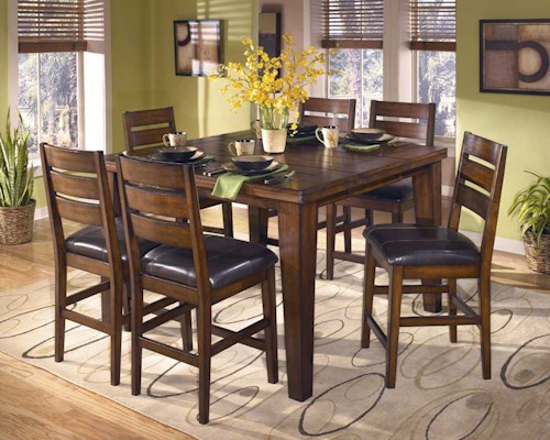 Signature Design By Ashley Larchmont Erfly Leaf Pub Table And 6 Bar Stools