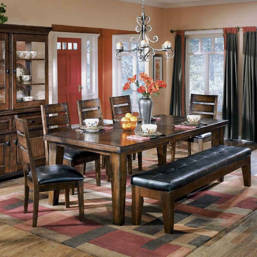 Ashley Signature Design Larchmont Rectangular Extension Table, 5 Chairs,  And 1 Bench