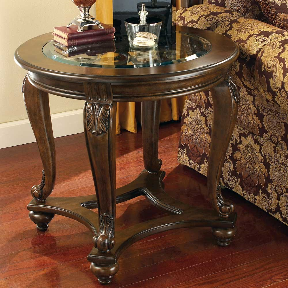 Signature Design By Ashley Norcastle Round End Table With Glass Top