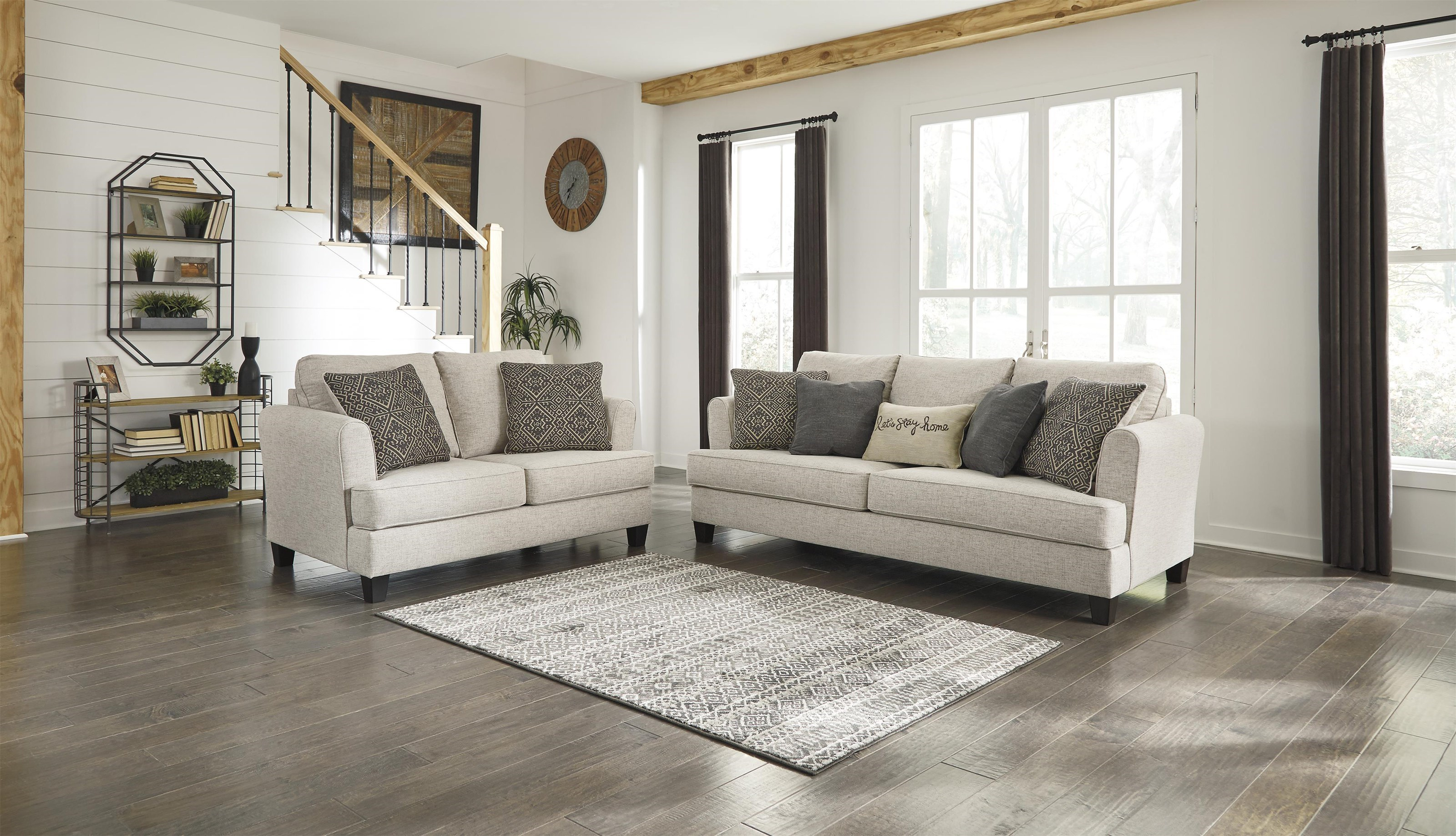 Ashley Furniture Alcona 9831038 35 Beige Sofa And Loveseat Set Sam Levitz Furniture Stationary Living Room Groups