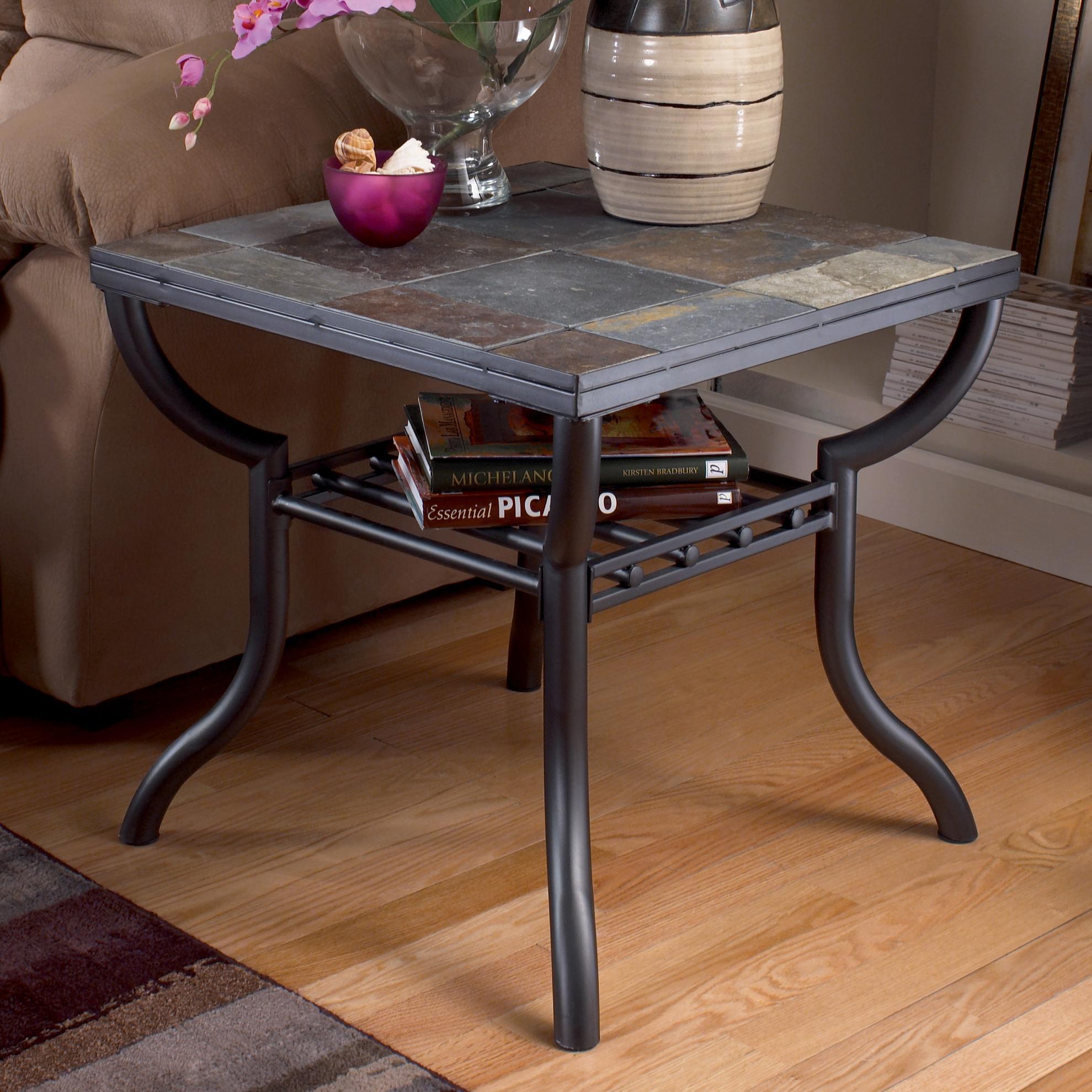 Exceptional Signature Design By Ashley Antigo Slate Top Square End Table