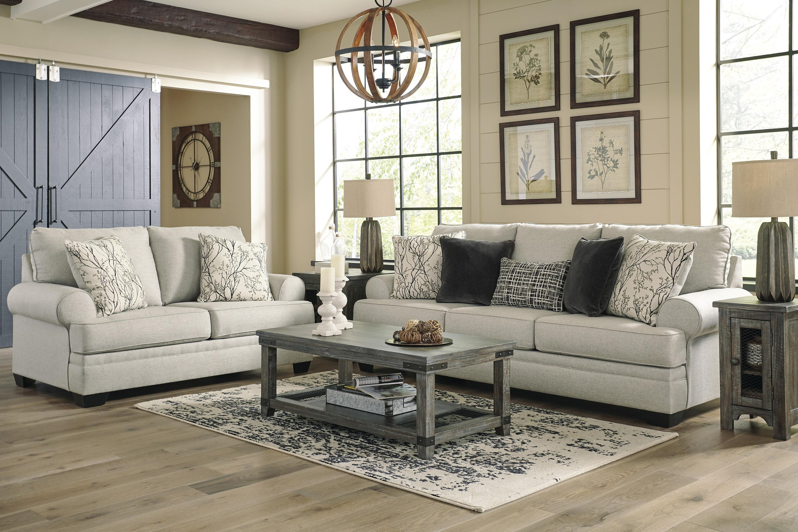 Picture of: Ashley Furniture Antonlini 2100138 35 Fog Sofa And Loveseat Set Sam Levitz Furniture Stationary Living Room Groups