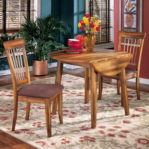 Ashley Furniture Berringer 3-Piece Drop Leaf Table & 2 Upholstered Side Chairs