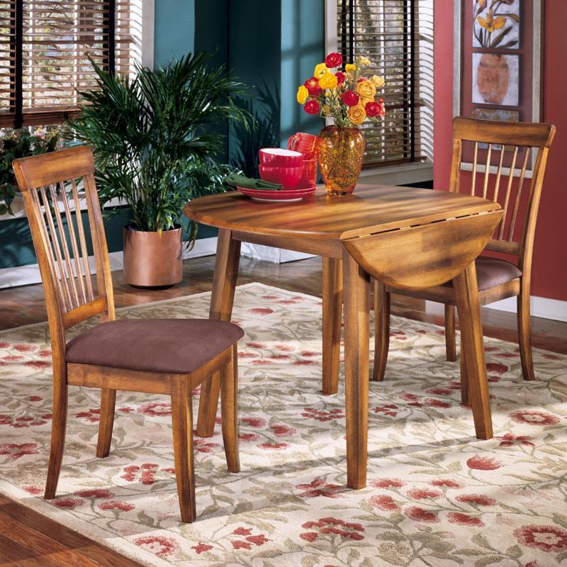 Ashley Furniture Berringer 3-Piece Drop Leaf Table u0026 2 Upholstered Side Chairs & Ashley Furniture Berringer 3-Piece Drop Leaf Table u0026 2 Upholstered ...
