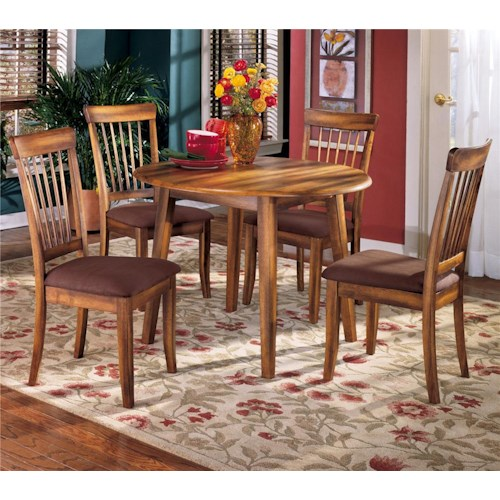 Ashley Furniture Berringer 5-Piece Drop Leaf Table & Upholstered Side Chair Set