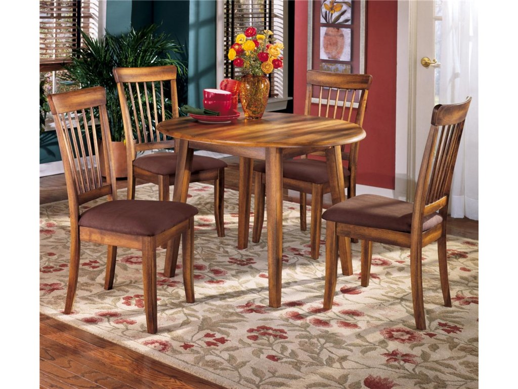 Barista 5 Piece Drop Leaf Table Upholstered Side Chair Set By Ashley Furniture At John V Schultz Furniture