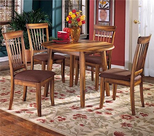 Ashley Furniture Berringer 5-Piece Drop Leaf Table & Upholstered Side Chair Set