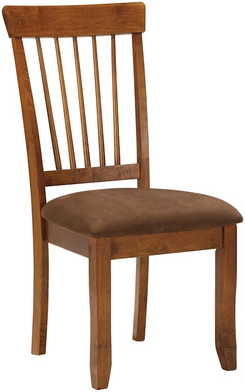 Ashley Furniture Berringer Hickory Stained Side Chair with Upholstered Seat