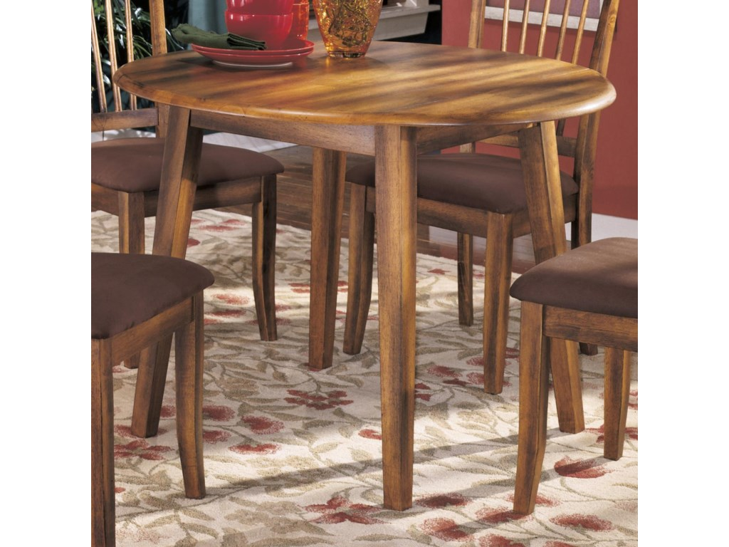 Ashley furniture berringer d199 15 hickory stained hardwood round ashley furniture berringerround drop leaf table watchthetrailerfo