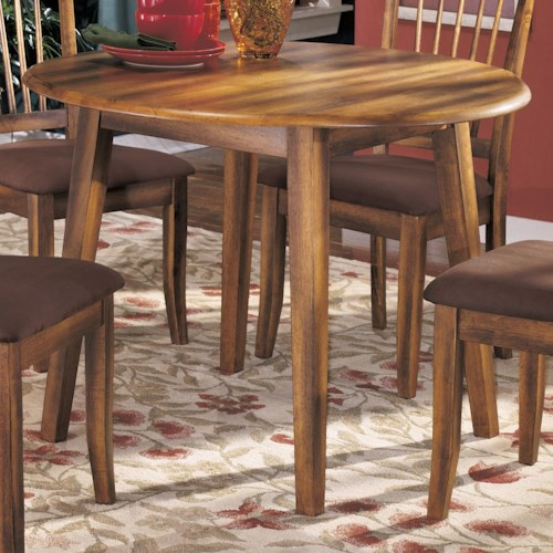 Ashley Furniture Berringer Hickory Stained Hardwood Round Drop Leaf - Ashley furniture high top table