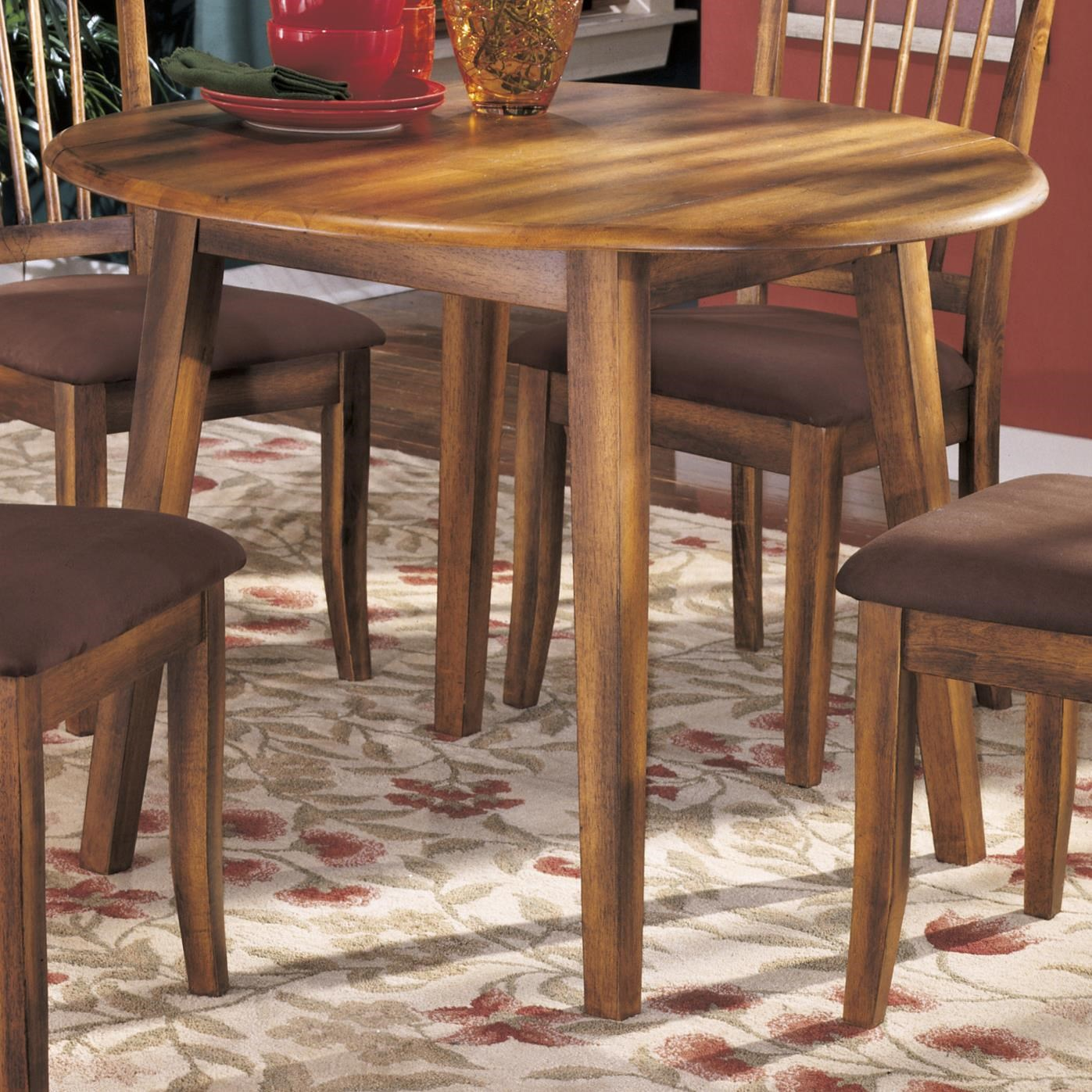 Ashley Furniture Berringer Hickory Stained Hardwood Round Drop Leaf Table    Becker Furniture World   Kitchen Tables