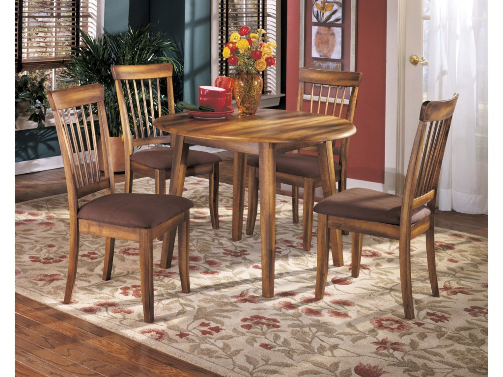 Berringer D199 15 Hickory Stained Hardwood Round Drop Leaf Table By Ashley Furniture