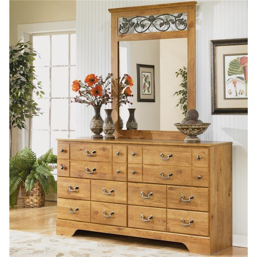 Signature Design by Ashley Bittersweet 6 Drawer Dresser and Mirror