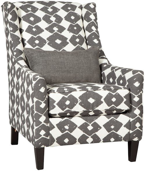 Ashley Furniture Brace Contemporary Wing Back Accent Chair with Lumbar Pillow