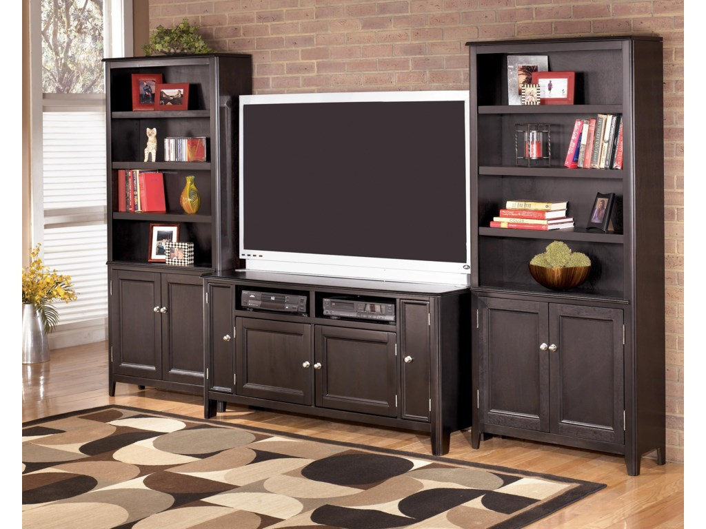 2 Large Door Bookcases Shown with TV Stand
