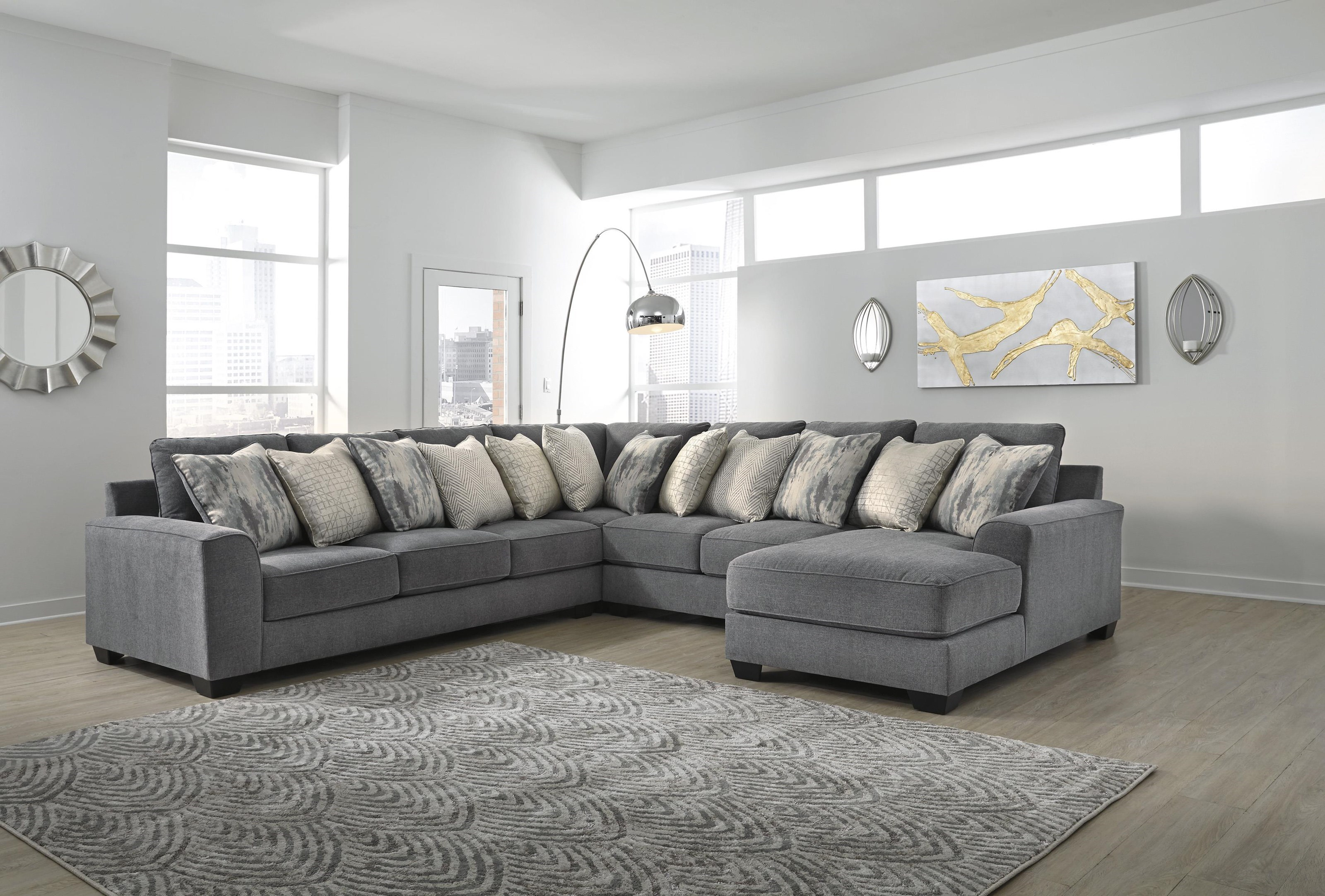 Picture of: Ashley Furniture Castano 13302 66 77 34 17 4 Piece Grey Sectional Sam Levitz Furniture Sectional Sofas