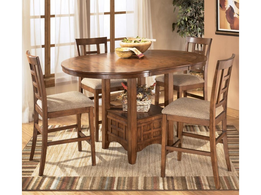 Table shown with leaf and 4 bar stools