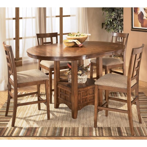Ashley Furniture Cross Island 5-Piece Counter Height Ext Table Dining Set