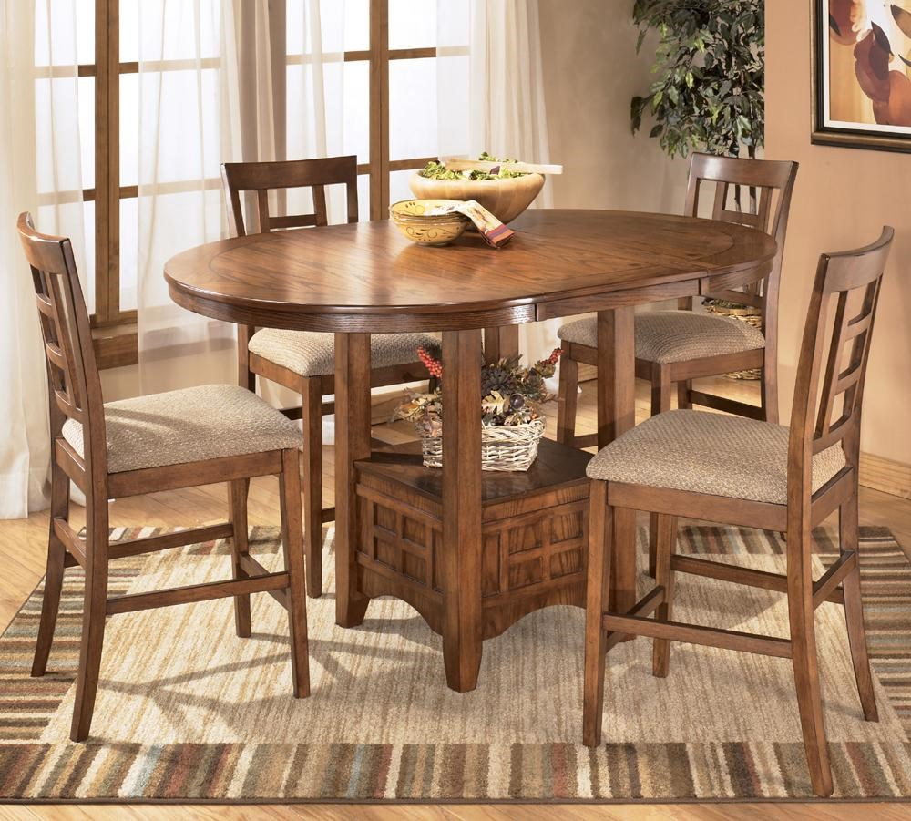 Ashley Furniture Cross Island 5 Piece Counter Height Ext Table Dining Set    Dunk U0026 Bright Furniture   Pub Table And Stool Sets