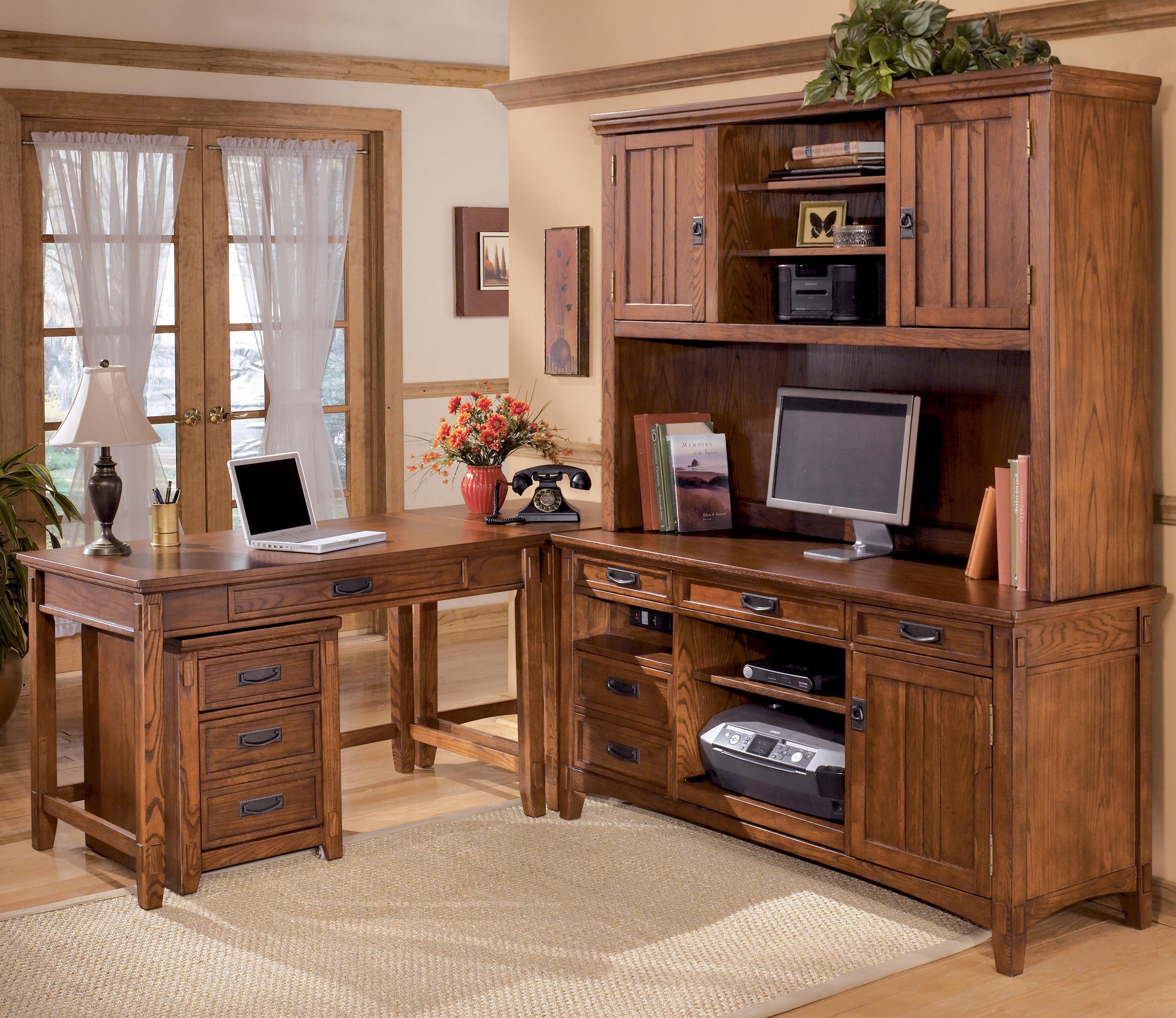 Ashley Furniture Cross Island 5 Piece L-Shape Desk Unit with Hutch ...