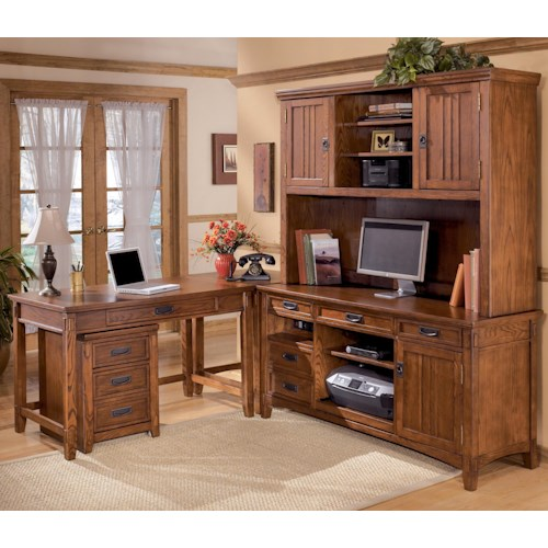 Ashley Furniture Cross Island 5 Piece L-Shape Desk Unit with Hutch and 2 Drawer File Cabinet