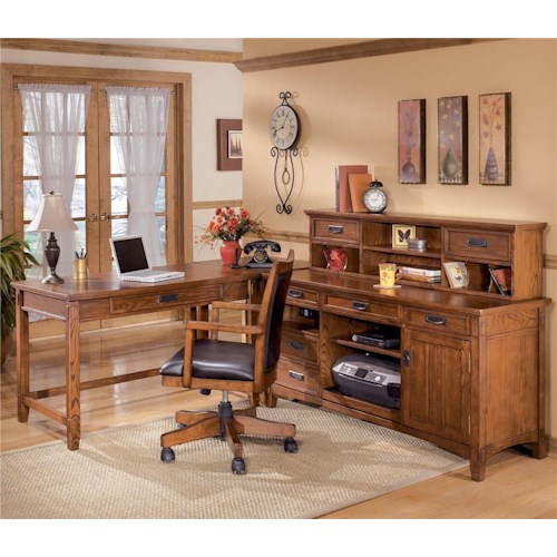 Ashley Furniture Cross Island L-Shape Desk with Credenza and Large Low Hutch