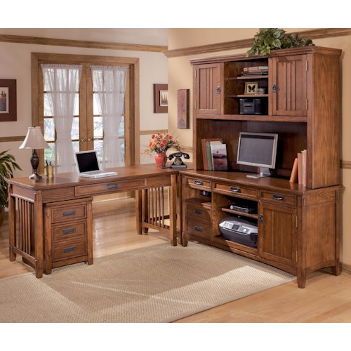 Ashley Furniture Cross Island 5 Piece L-Shape Office Desk Unit with Hutch & File Cabinet