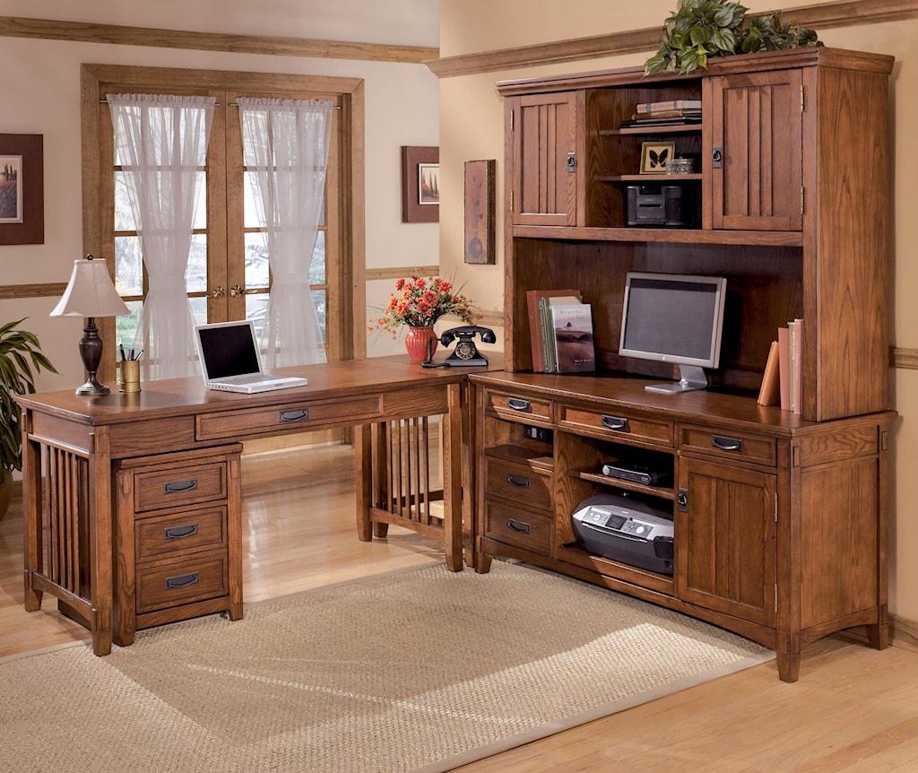 ashley furniture cross island 5 piece l-shape office desk unit