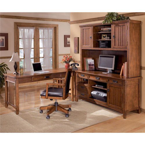 Ashley Furniture Cross Island 4 Piece L-Shape Office Desk Unit with Hutch
