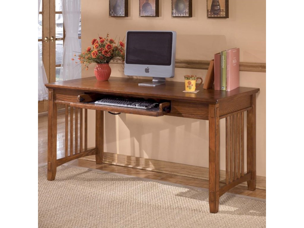 Ashley Furniture Cross Island H319 44 Oak Large Leg Desk Becker World Table Desks Writing