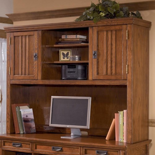 Ashley Furniture Cross Island 2 Door Mission Hutch with 3 Shelves