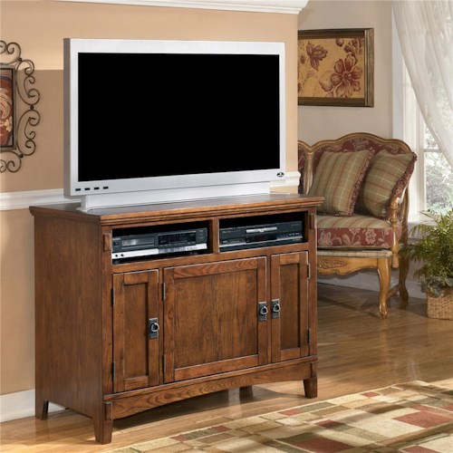 Ashley Furniture Cross Island 42 Inch Oak TV Stand with Mission Style Hardware