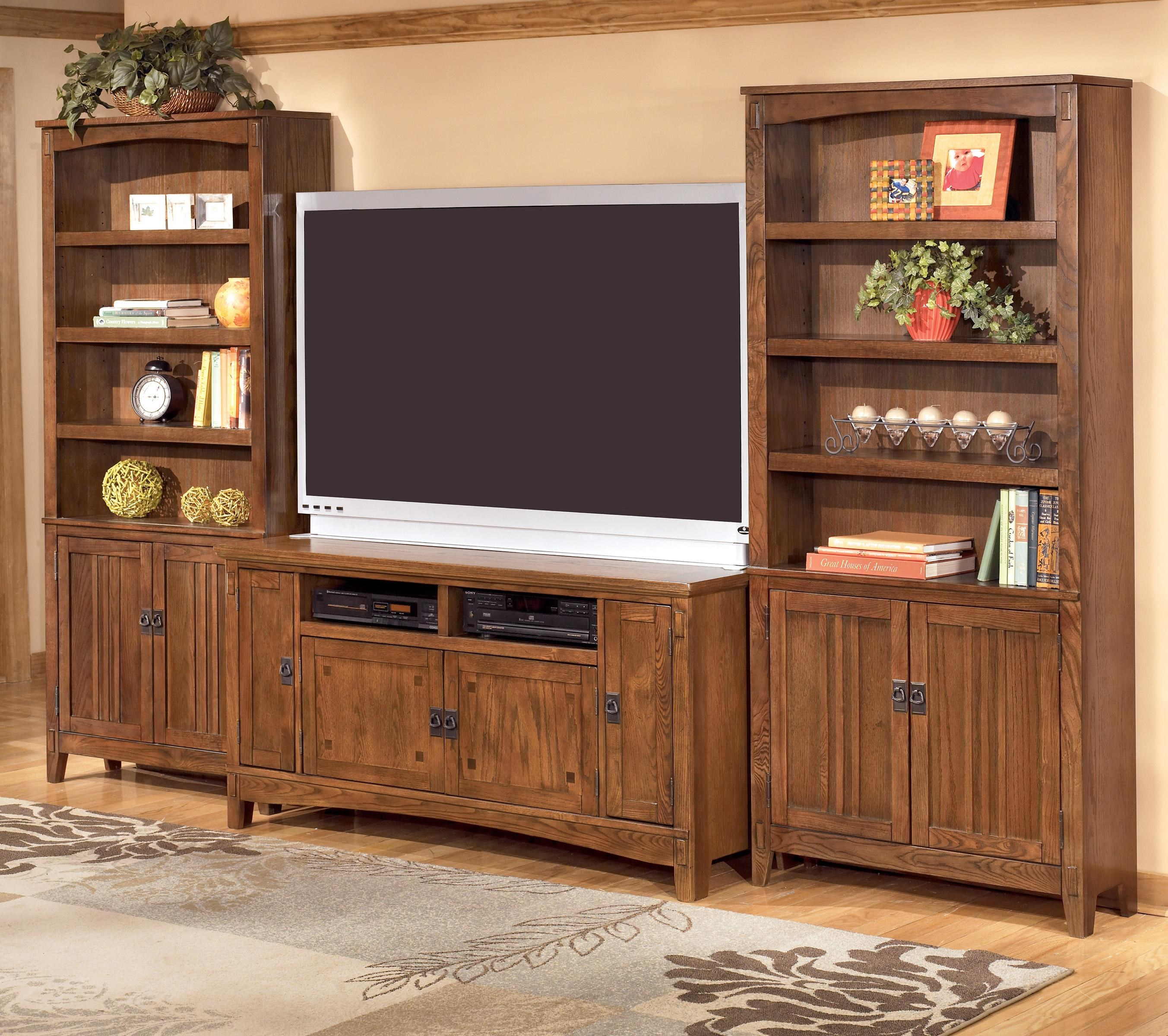 Ashley Furniture Cross Island 60 Inch Tv Stand Amp 2 Large Door Bookcases Suburban Furniture