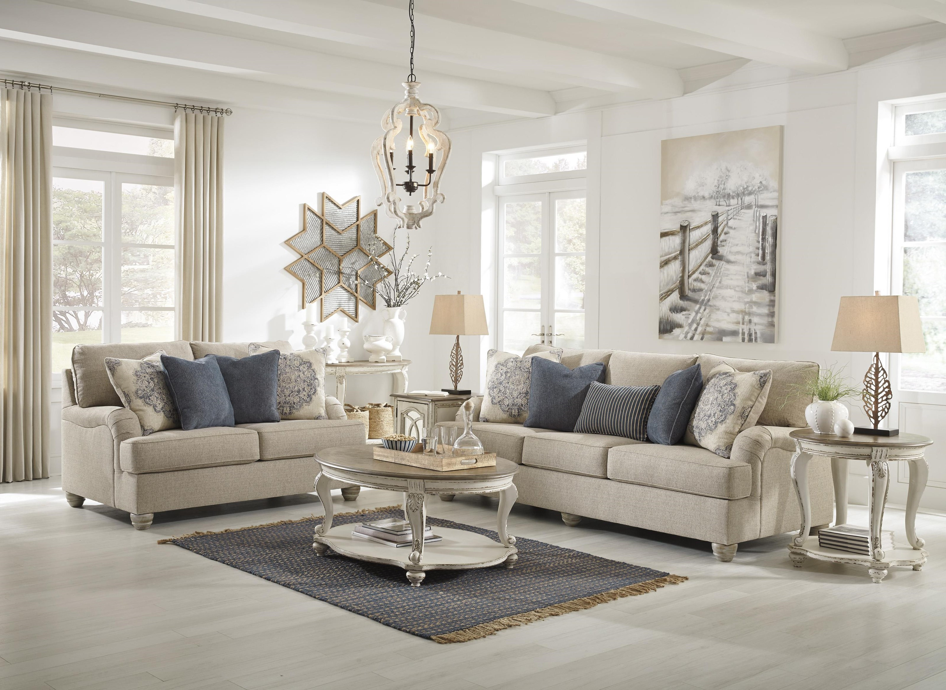 Picture of: Ashley Furniture Dandrea 9900438 35 Bisque Sofa And Loveseat Set Sam Levitz Outlet Stationary Living Room Groups