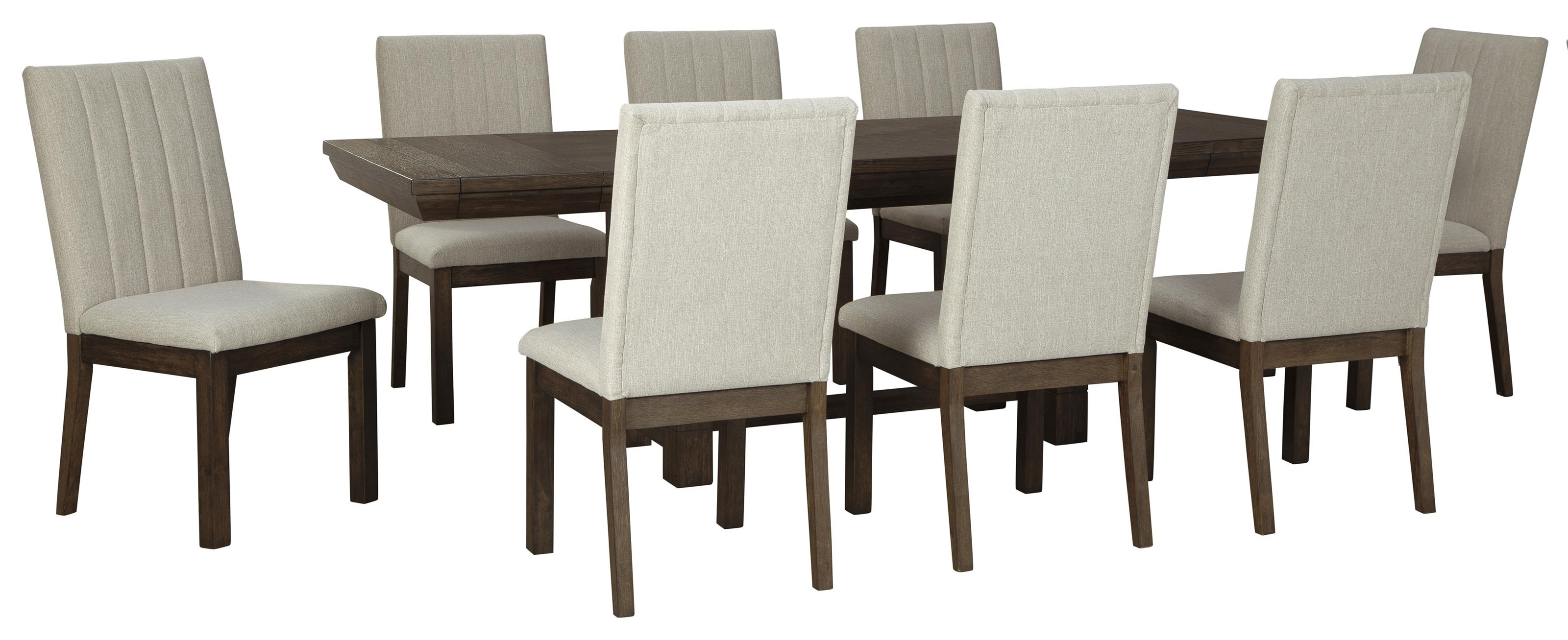 Picture of: Ashley Furniture Dellbeck D748 45 8×01 9 Pc Table And 8 Uph Side Chairs Sam Levitz Furniture Dining 7 Or More Piece Sets