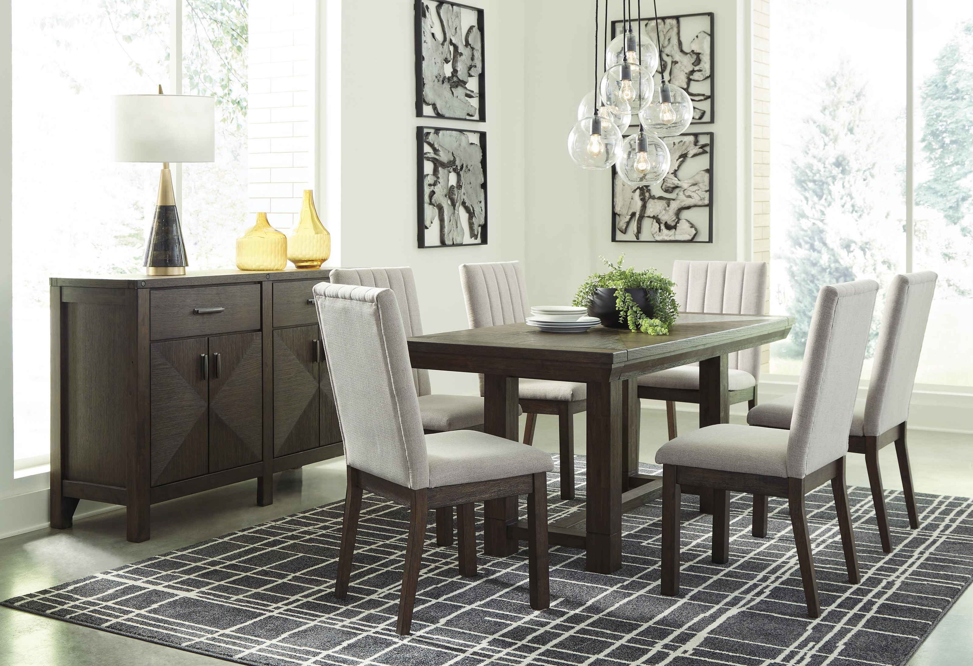 Picture of: Ashley Furniture Dellbeck D748 45 6×01 60 8 Pc Table 6 Uph Side Chairs And Server Set Sam Levitz Furniture Dining 7 Or More Piece Sets