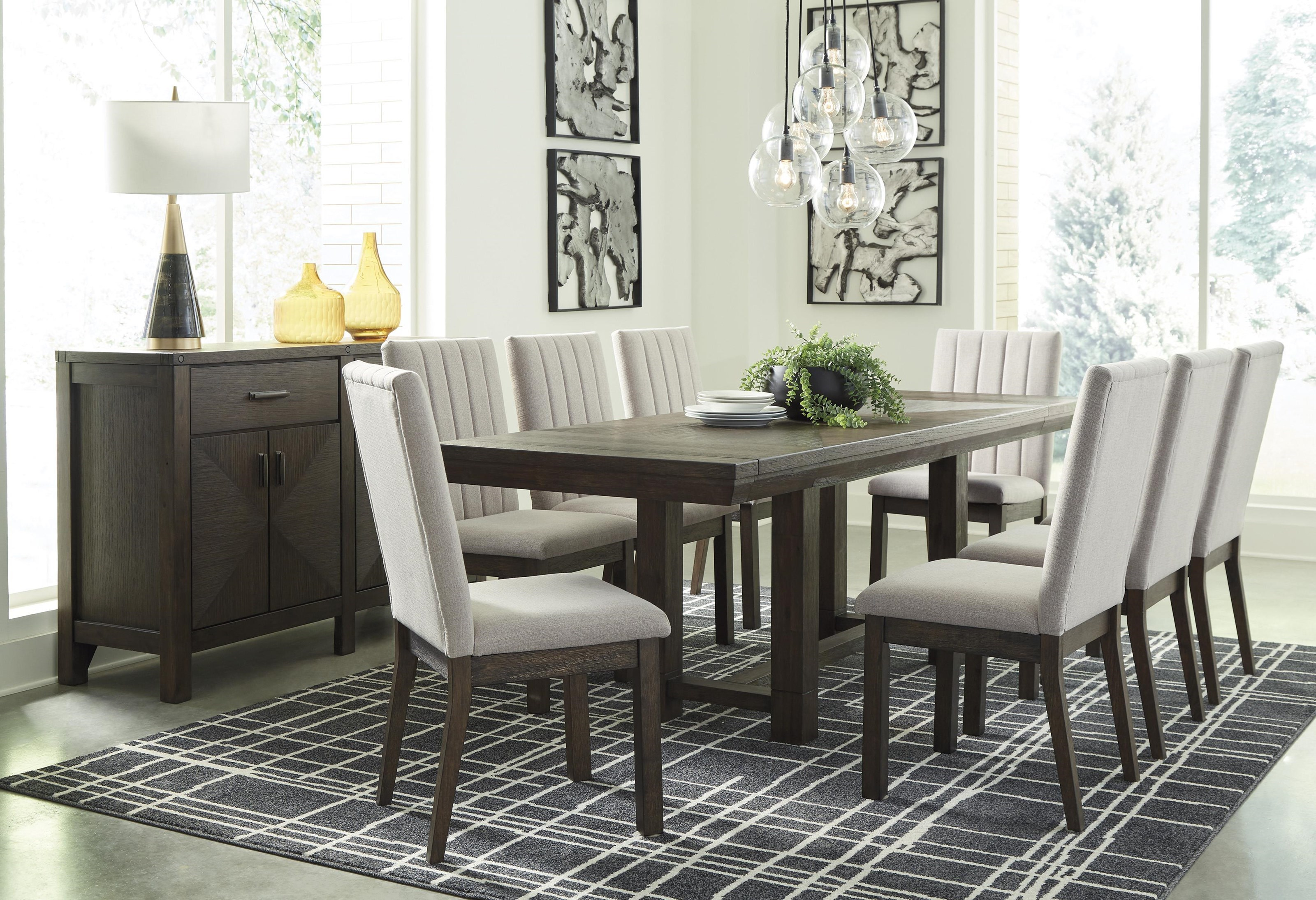 Ashley Furniture Dellbeck D748 45 8x01 60 10 Pc Table 8 Uph Side Chairs And Server Set Sam Levitz Outlet Dining 7 Or More Piece Sets