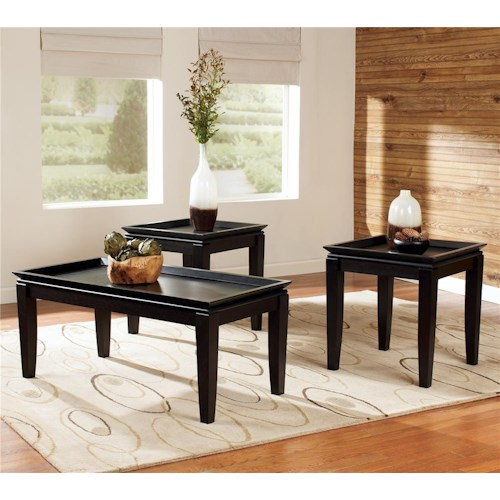 Signature Design by Ashley Delormy 3-in-1 Pack Contemporary Occasional Tables with 1 Cocktail Table and 2 End Tables