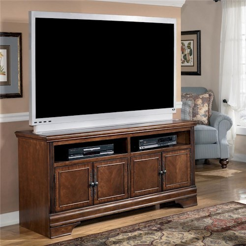 Signature Design by Ashley Hamlyn Transitional Large TV Stand with Cherry Veneer