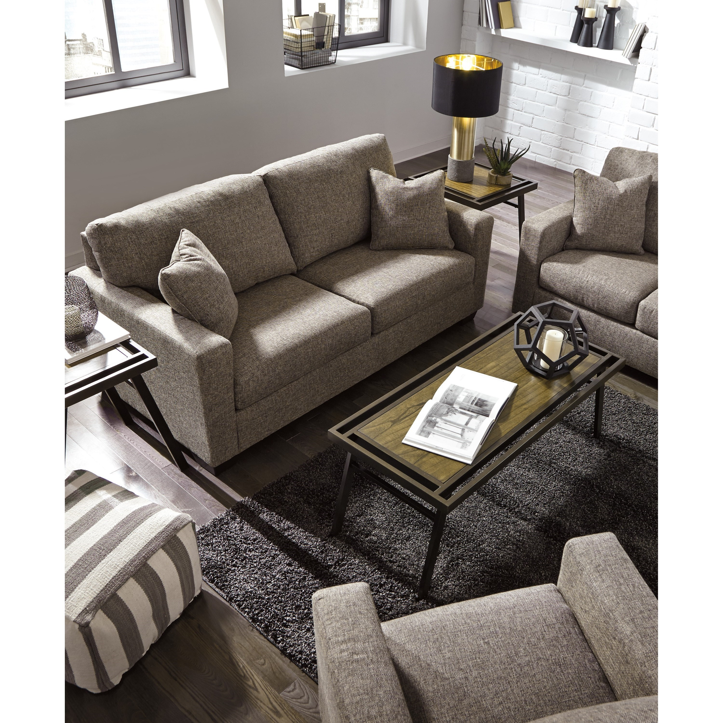 Hearne Contemporary Sofa With Track Arms By Ashley Furniture